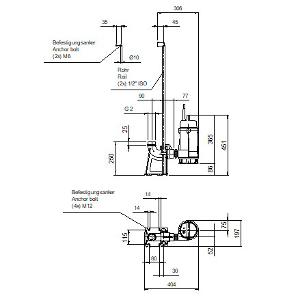 AMTP28 dompelpomp opstellings tekening Aqua Milieu Techniek