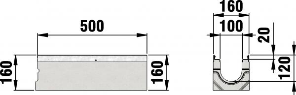 Detail Tekening AMT50 B=100 - 500 mm draingoot
