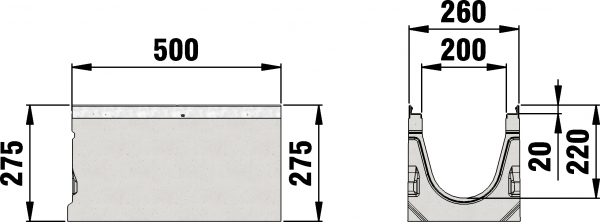 Detail Tekening AMT50 B=200 - 500 mm draingoot