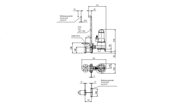 AMTP50 dompelpomp opstellings tekening Aqua Milieu Techniek - Maximale maatvoeringen !!