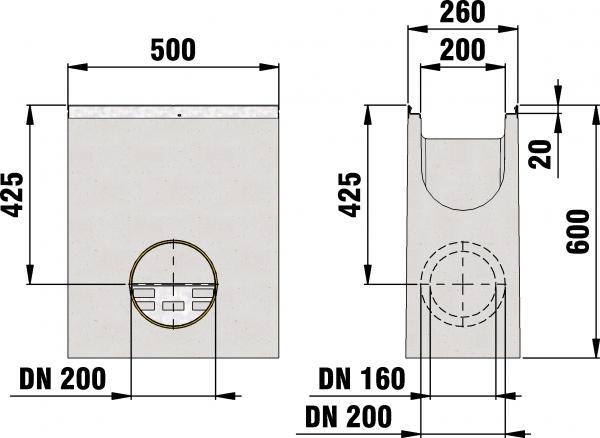 Detail Tekening AMT50 B=200 - zandvanger