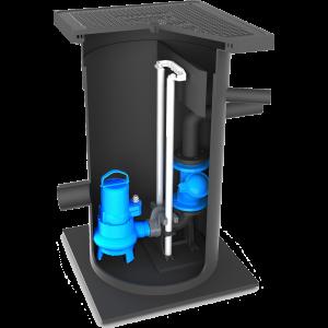 Vuilwater Pompput-630-pomp-op-voetbocht-AMT-125kN-deksel