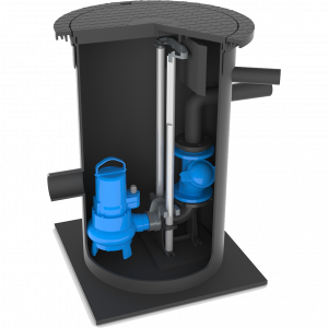 Vuilwater Pompput-630-pomp-op-voetbocht-AMT-200-kg-deksel